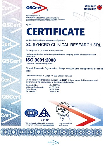 Syncro ISO 9001 certificate